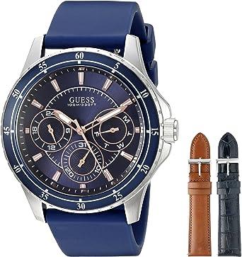 Guess Hombre u0742g1 Azul Plateada Reloj Set con 3 Correas Intercambiables Dentro de una Bonsu Estuche de Viaje: Amazon.es: Relojes