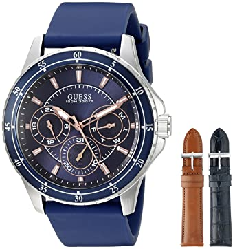 GUESS Mens U0742G1 Silver-Tone Blue Watch Set with 3 Interchangeable Straps Inside a Bonsu