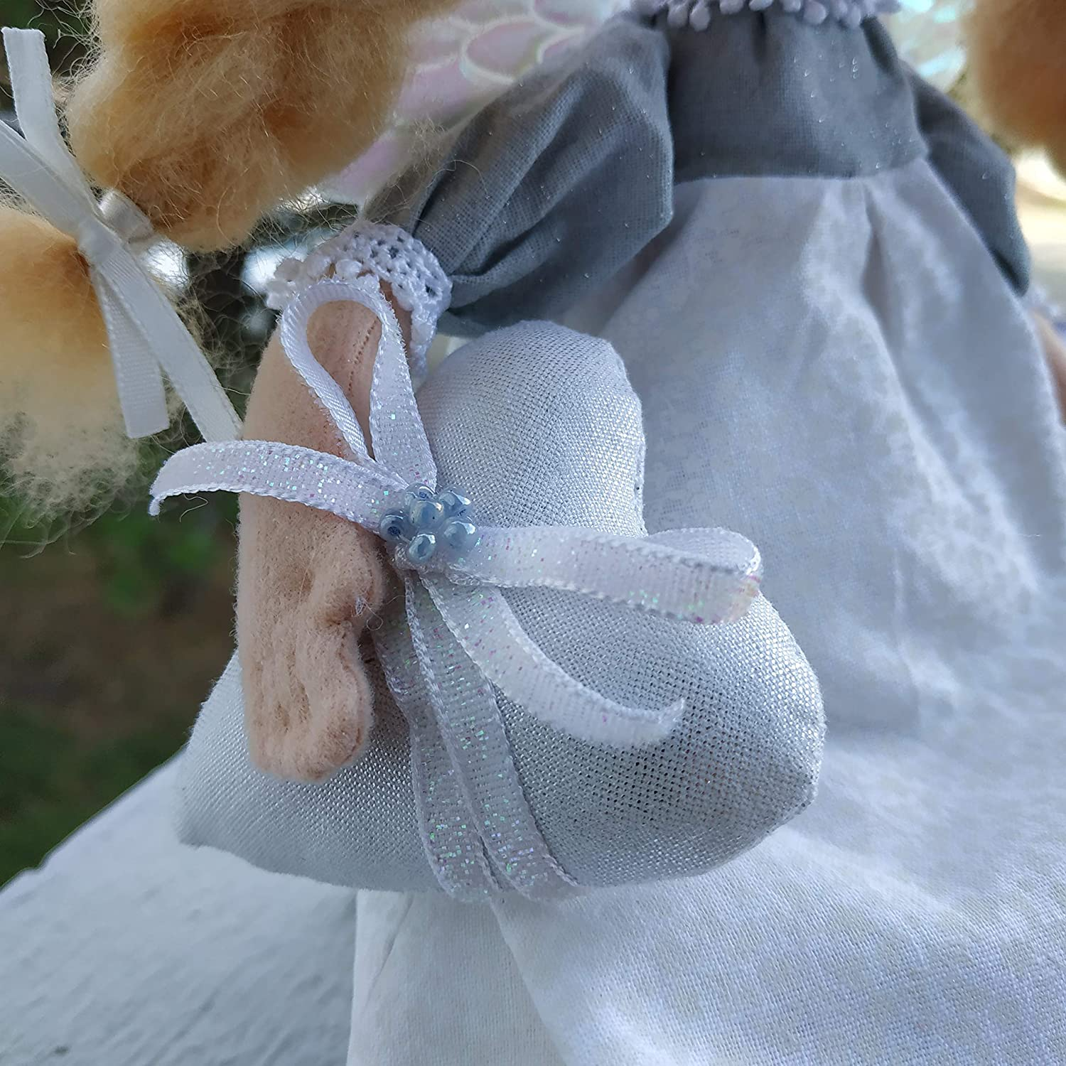 Cute Angel interior decorative gift doll with heart Shelf sitting soft rag doll girl in white and silver for nursery