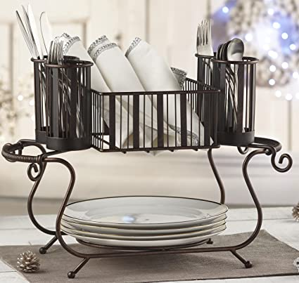 MESA Delaware Buffet Silverware Caddy Dinner Plate Holder (Antiqued Black  Finish)