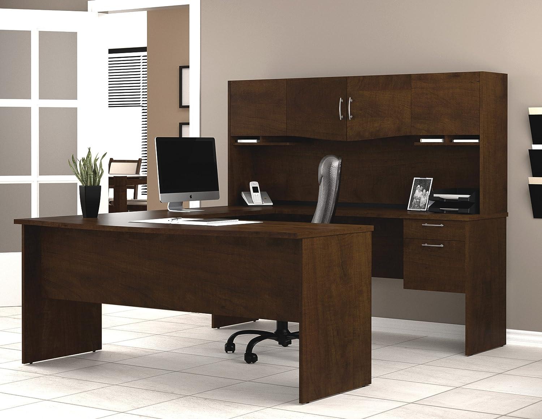 Amazon.com: Bestar Harmony U Shaped Workstation, Chocolate: Kitchen U0026 Dining