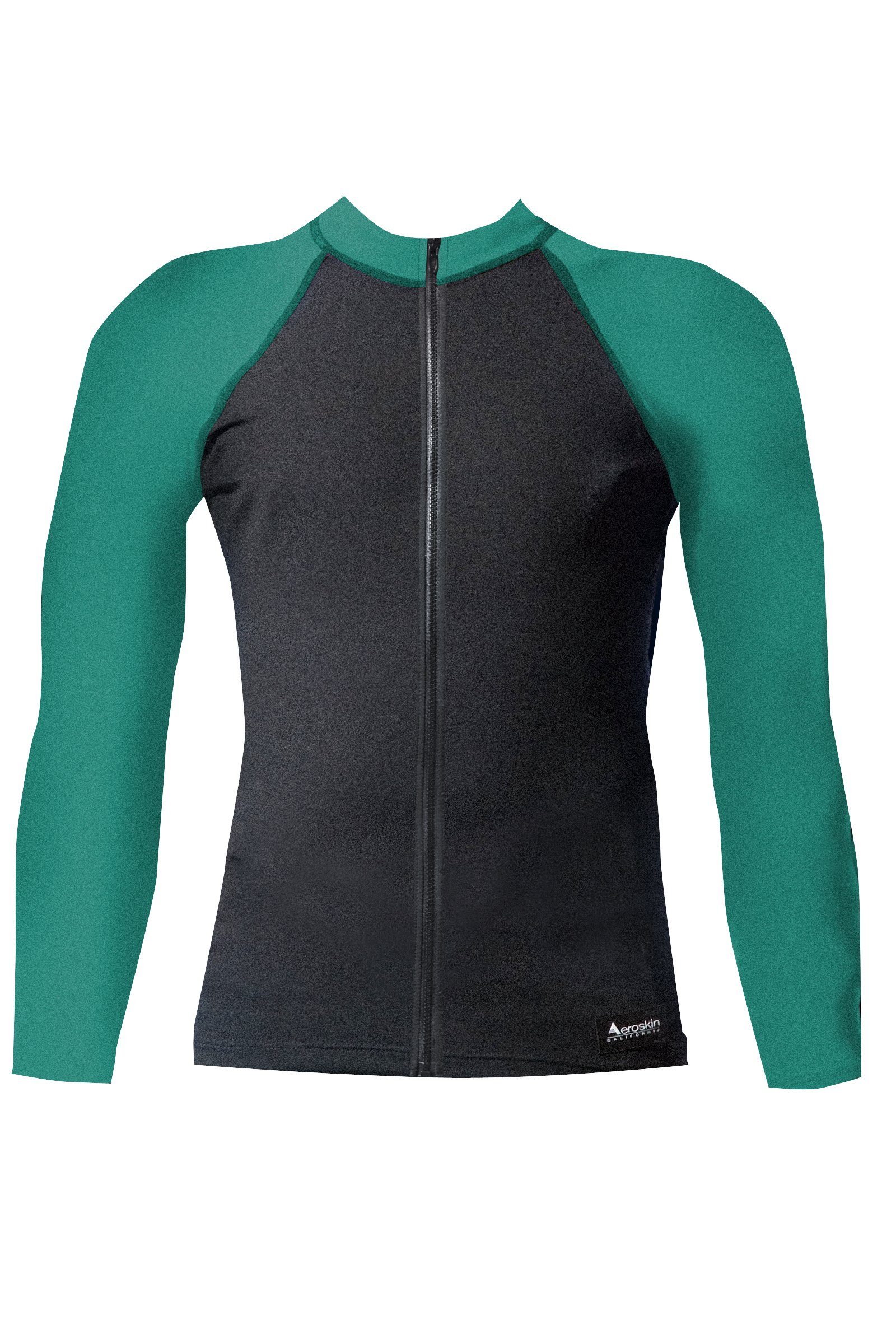 Aeroskin Raglan Long Sleeve Shirt with Color Accents, Fuzzy Collar and Front Zip (Black/Teal, X-Small)