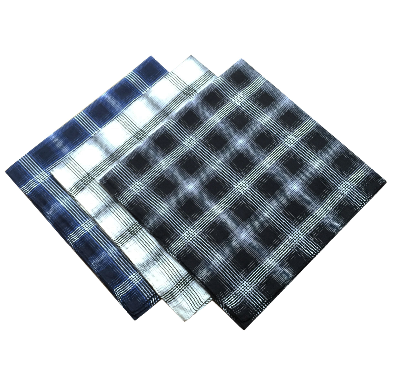 KINGDESON Men's Elegent Checkered Cotton Hankie Hankerchiefs gift set 3PCS