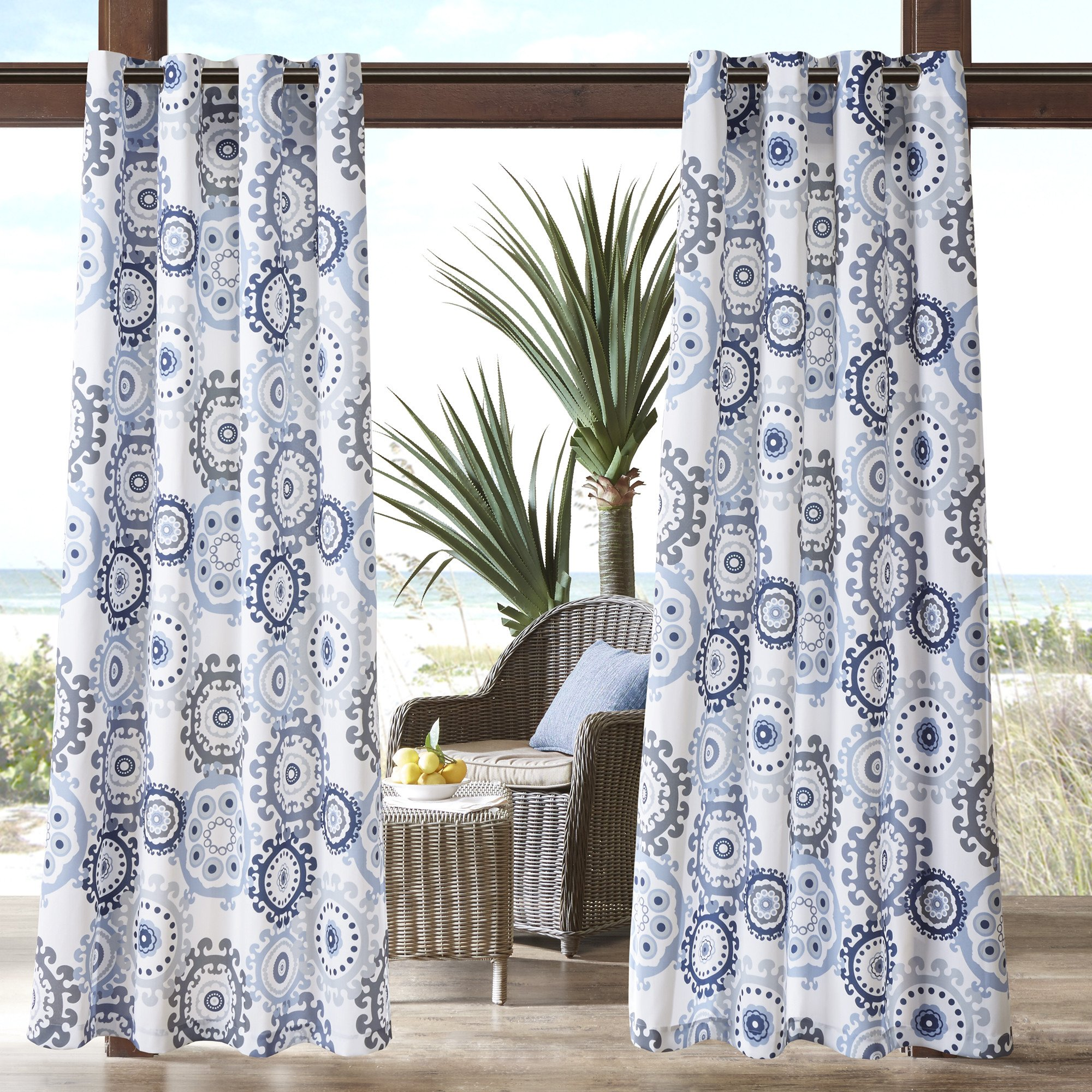 1 Piece Indigo Medallion Gazebo Curtain Panel 84 Inch, Blue Floral Print Outdoor Curtain Light Blocking For Patio Porch, Water Resistant Indoor/outdoor Drape Pergola Garden Sunroom Grommet, Polyester