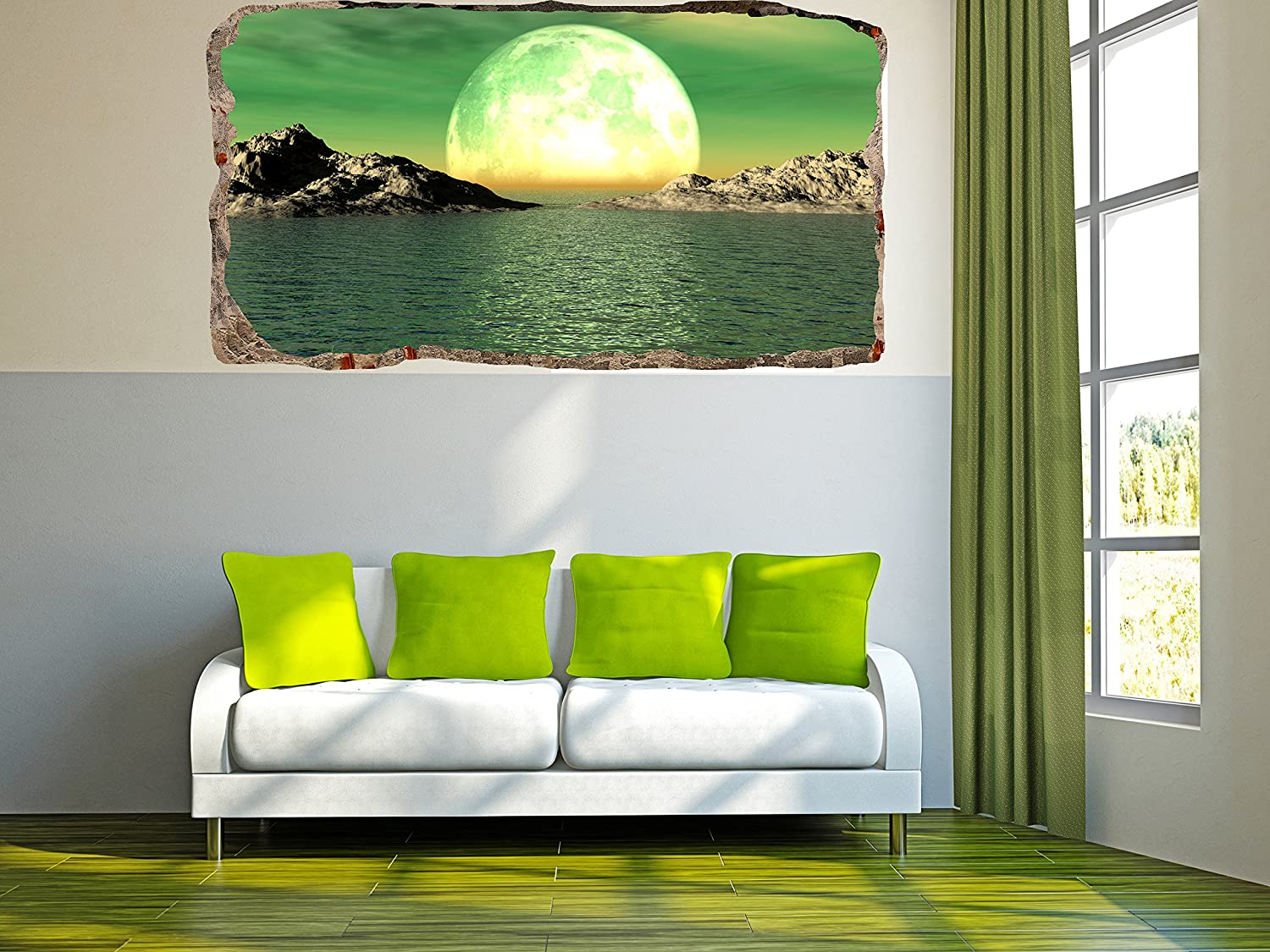 Mural Wall Art Photo Decor Window Moon on the Water