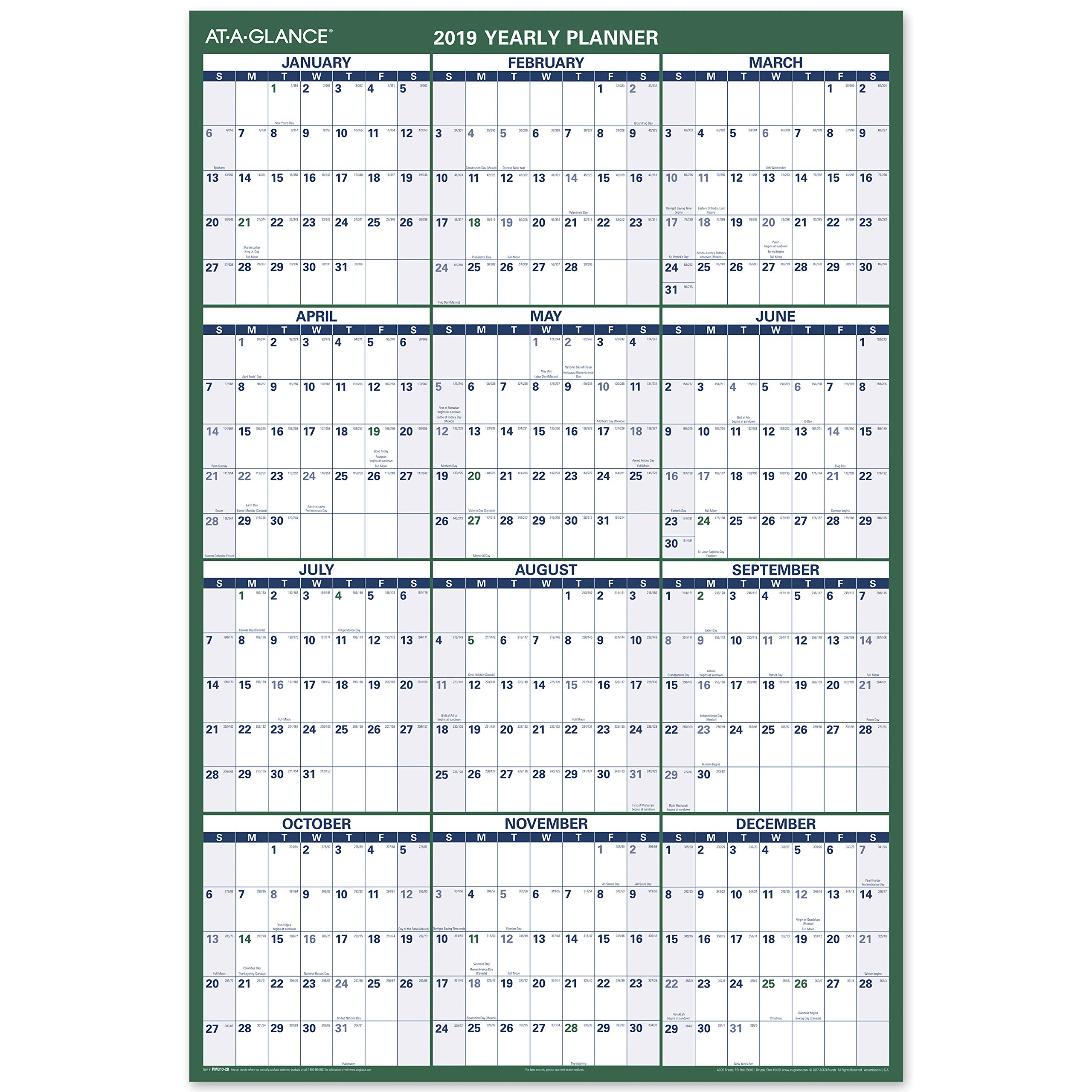 AT-A-GLANCE Wall Calendar, January 2019 - December 2019, 48'' x 32'', Reversible, Erasable, Vertical (PM31028) by AT-A-GLANCE