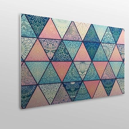 MEGADECOR Cabecero Cama PVC Decorativo Económico Diseño Geométrico de Triángulos Estampados Varias Medidas (115 cm x 60 cm)
