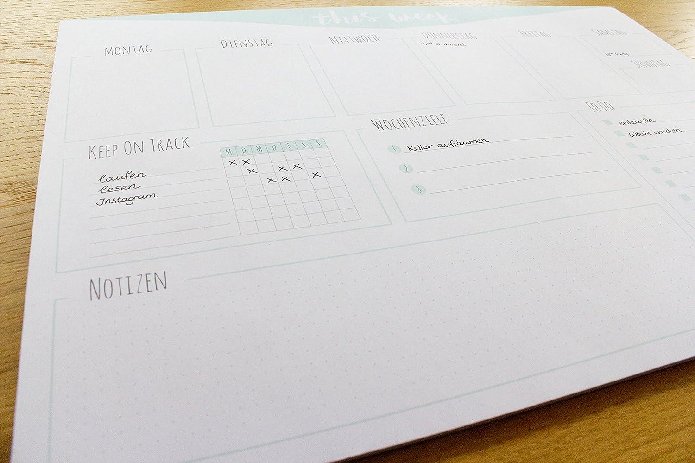 ToDo Liste Notizen aus Papier zum Abrei/ßen // Organizer Schreibtischunterlage Wochenplan Wochenziel rosa 42x29,7cm DIN A3 Schreibtischunterlage f/Ùr Kinder und Erwachsene pastellfarben wei/ß