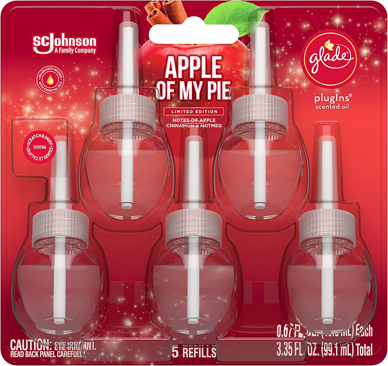 Glade Plugins Scented Oil Refills - Apple of My Pie - Limited Edition - 5 Count Oil Refills Per Package - One (1) Package