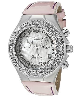 be3e4c5b9da Technomarine Women s TechnoDiamond Chronograph Diamond (1.1 ctw) White MOP Dial  Light Pink Patent Genuine Leather  Amazon.co.uk  Watches