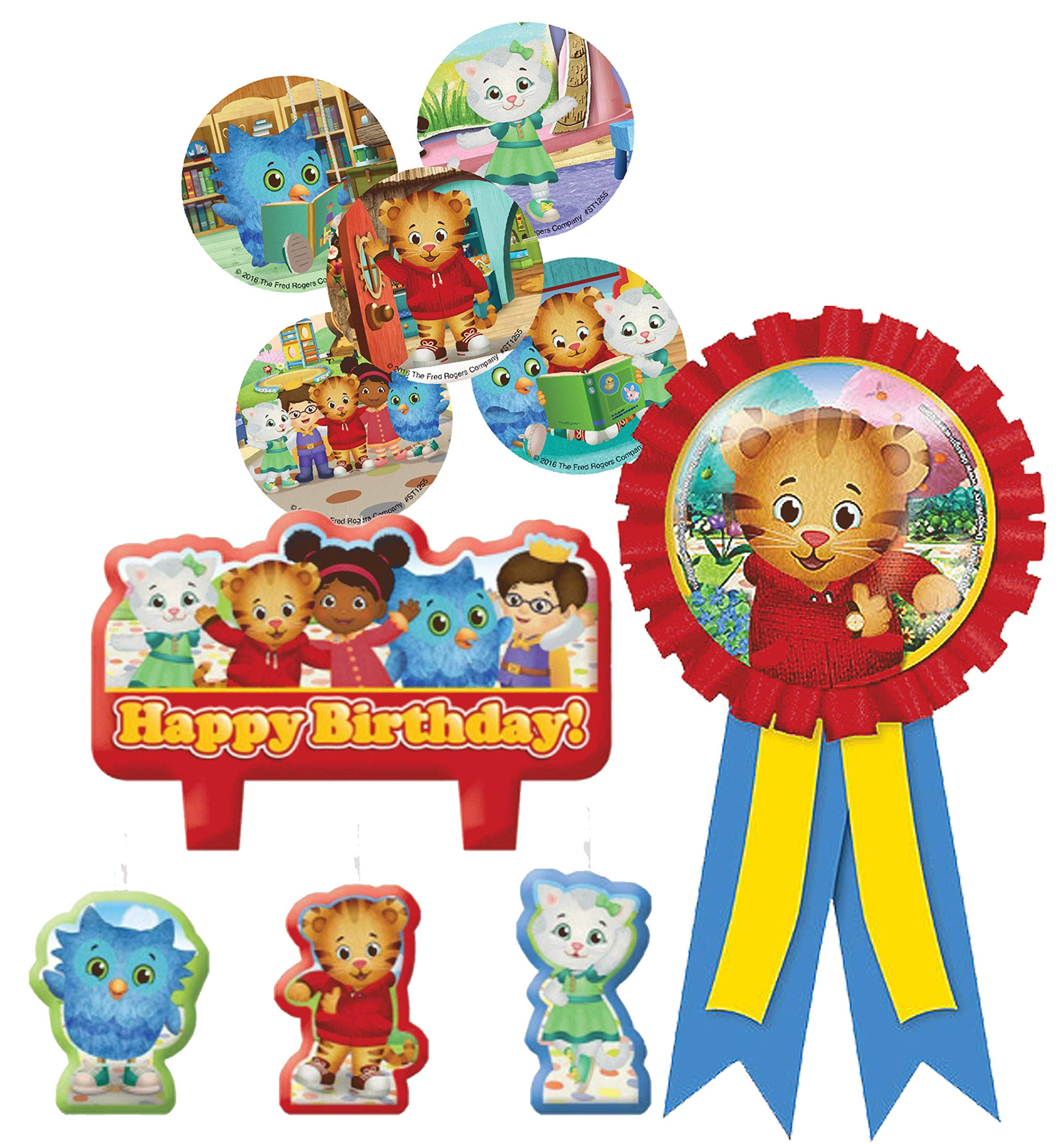 Daniel Tiger's Neighborhood Cake Candle Set & Birthday Party Confetti Filled Ribbon for Guest of Honor! Plus Daniel Tiger Party Favor Stickers!