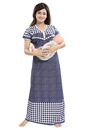 e2b12187ce TUCUTE Women s Beautiful Checks Print with Border Feeding Maternity Nursing  Nighty Nightwear.