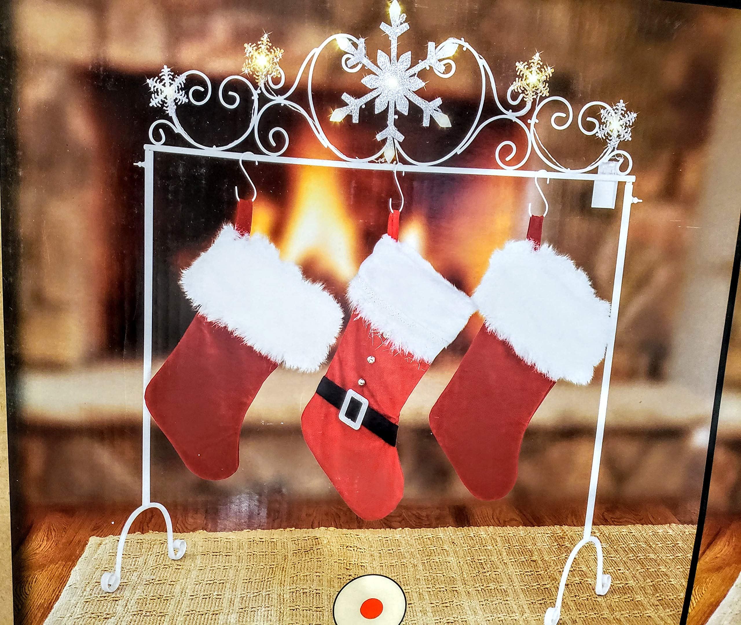 NTD Shiny LED Snowflakes Freestanding Stocking Holder Stand