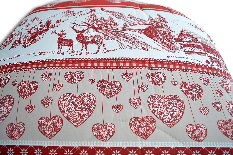 Matrimoniale Centesimo Web Shop Trapunta Letto Invernale Piumone 3 Misure Italiana Calore 5 Italia Tirolese Baita Montagna Inverno Cuori Grigio