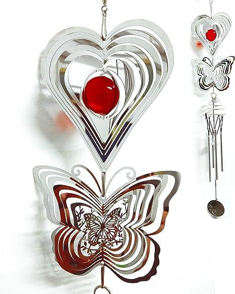3D Metal Open Close Wind Chime Hummingbird Spiral Heart Ball Spinner Decor New N