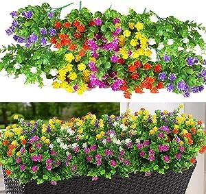 10 Bundles Outdoor Artificial Fake Flowers UV Resistant Shrubs Plants, Faux Plastic Greenery Gypsophila for Indoor Outside Hanging Plants Garden Porch Window Box Home Wedding Farmhouse Decor
