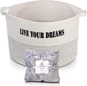 Cotton Rope Basket XXXL Inches Storage Bin with Handles for Sitting Room, Bedroom, Nursery - for Linens, Pillows, Blankets, Toys, Laundry w/Bonus Throw Blanket 50x70 Inches Inspiration Sentence