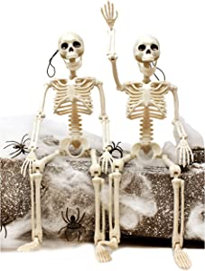 "JOYIN 2 Packs 16"" Posable Halloween Skeletons 