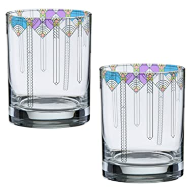 Frank Lloyd Wright April Showers DOF Double Old Fashioned Glass 14-Ounce Set of 2
