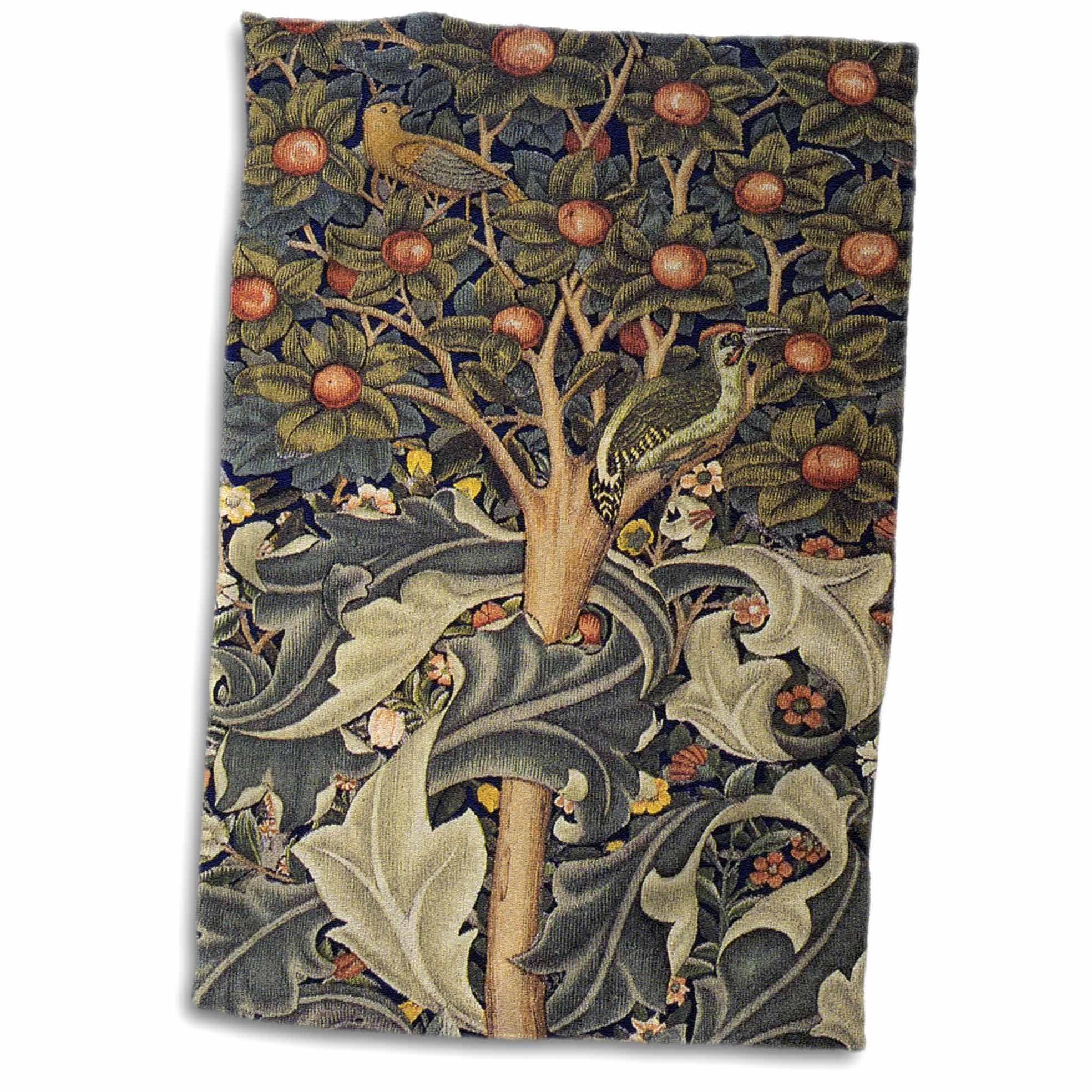 3D Rose Image of William Morris Woodpecker in Gray Orange & Ivory Hand Towel, 15'' x 22'' by 3dRose (Image #1)