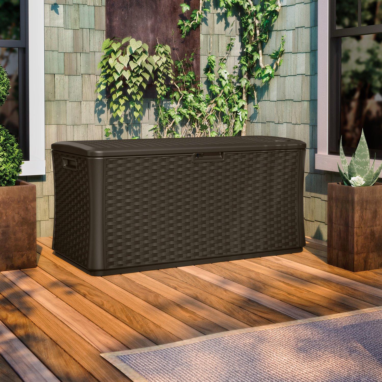 Amazon.com: Suncast BMDB134004 Wicker Resin Deck Box, 134 Gallon: Garden U0026  Outdoor
