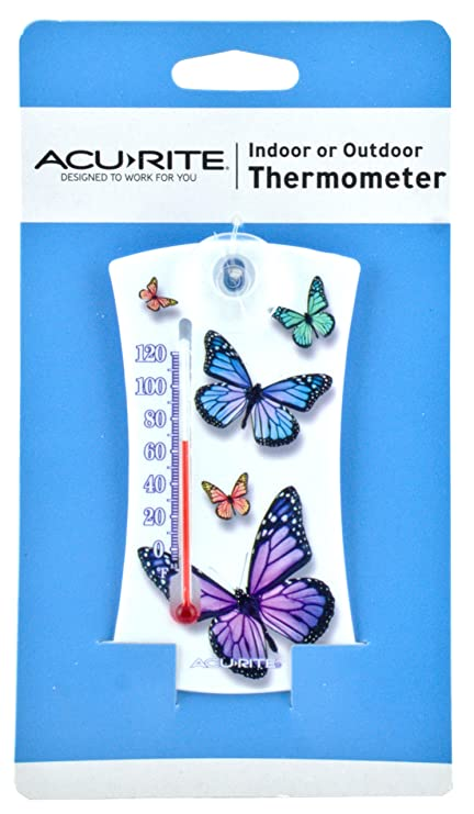 AcuRite Mini Thermometer (White Butterfly Design)