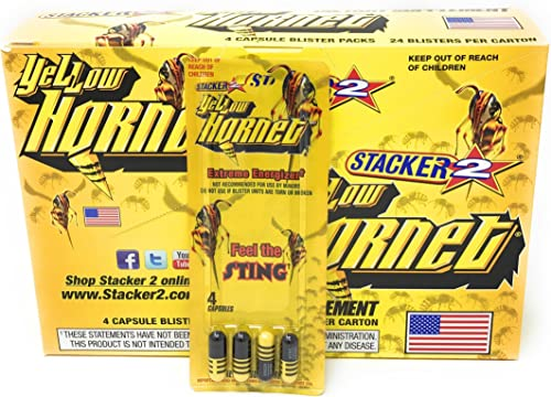 Stacker 2 Yellow Hornet Extreme Energizer Dietary Supplement 24 Blister Pack with 4 Capsules in Each Pack 1