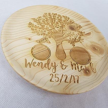 Árbol de madera personalizado anillo bandeja ~ soporte para anillos de propuesta de matrimonio ~ grabada