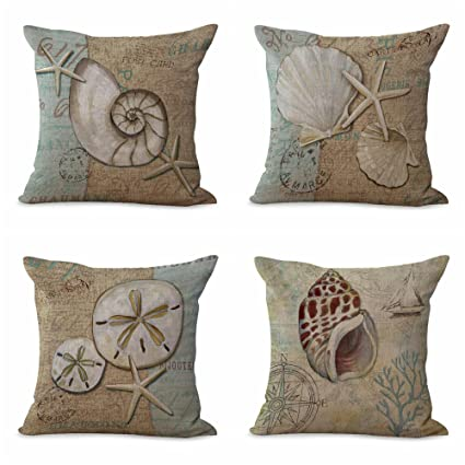 Amazon Com Set Of 4 Cushion Covers Marine Beach Turtle Anchor