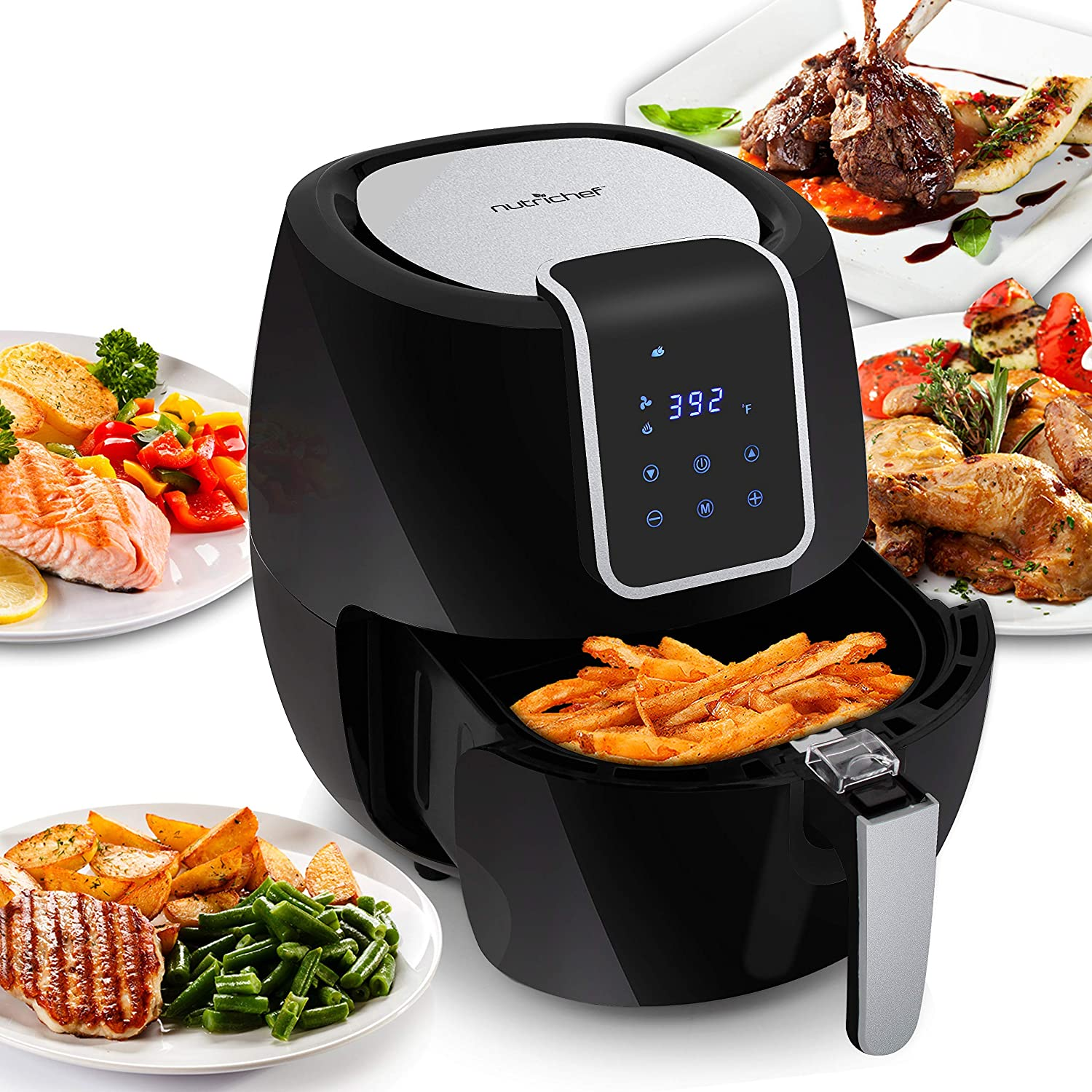 NutriChef Digital Air Fryer 5.6 Qt XXL - 1800 Watt Power Electric Oilless Kitchen Hot Air Frying Convection Multi Cooker, Non Stick Fry Basket - Digital Cooking Time Setting options, Black- PKAIRFR65