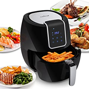 Digital Air Fryer 5.6 Qt XXL - 1800 Watt Power Electric Oilless Kitchen Hot Air Frying Convection Multi Cooker, Non Stick Fry Basket - Digital Cooking Time Setting options - NutriChef PKAIRFR65