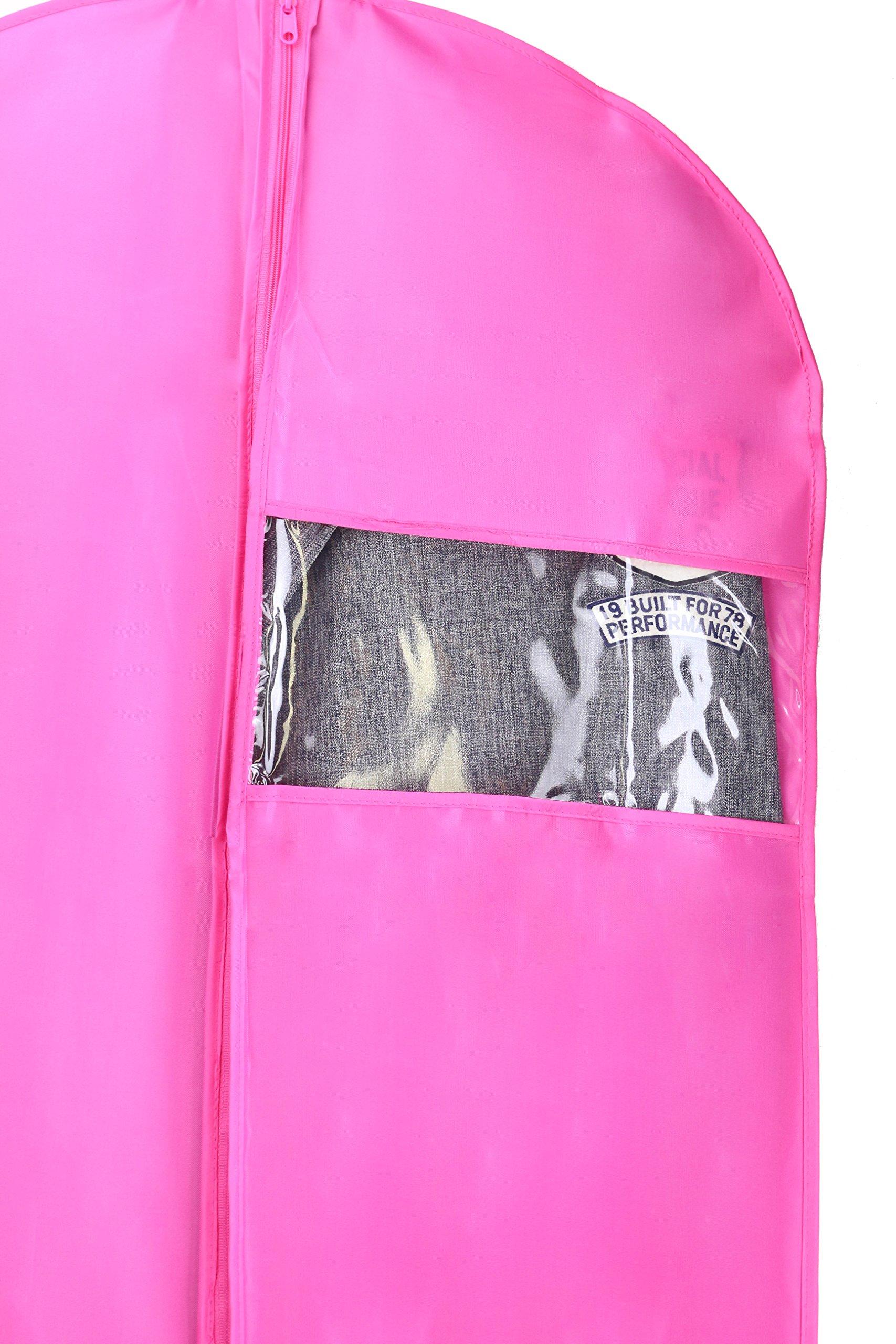 Kernorv Garment Bags for Dance Costumes, Set of 5 Breathable Dust-proof Garment Bags 51'' Dance Garment Bags with Clear Window for Dance Costumes, Dress, Jacket, Storage or Travel (Pink) by Kernorv (Image #3)
