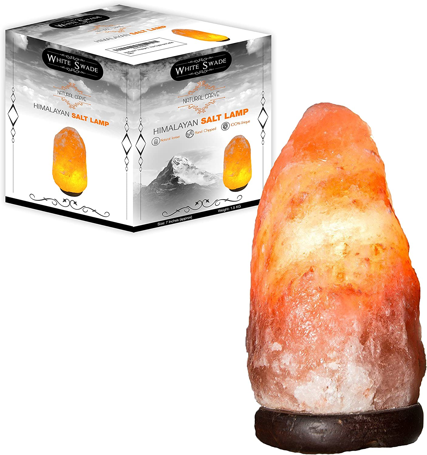WhiteSwade Pink Crystal Himalayan Salt Lamp with UL Certified Dimmer Switch, Medium Size.Wood Base and 15W Bulb, 6 ft Cord. Rock Crystal Hand Crafted. Perfect Gift Idea. Popular Feng Shui Decor