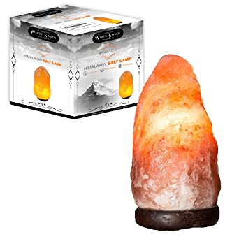 WhiteSwade 7 Inch Pink Himalayan Salt Lamp With UL CERTIFIED Dimmer Switch.  Neem Wood Base