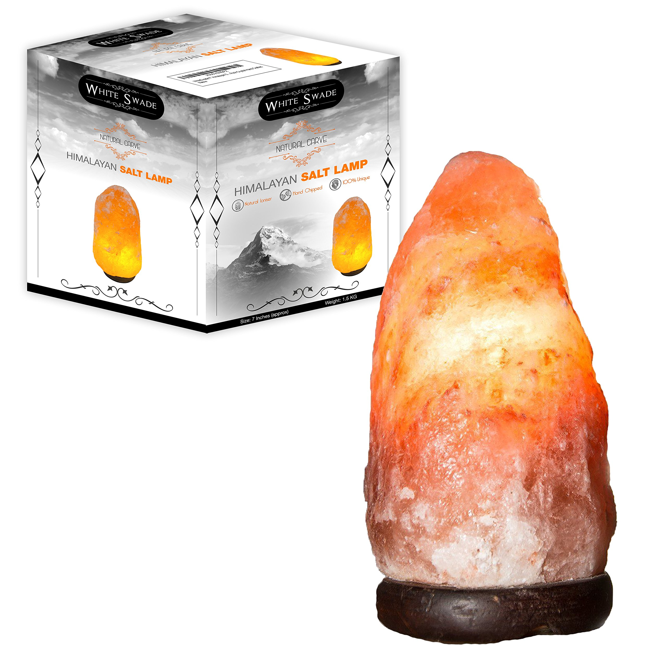 WhiteSwade 7 Inch Pink Himalayan Salt Lamp with UL CERTIFIED Dimmer Switch. Neem Wood Base and 15W Bulb, 6 ft Cord. Rock Crystal Naturally Hand Crafted. Air Ionizer and Purifier