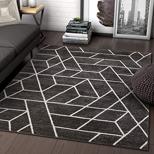 Well Woven Alli Geometric Grey Modern Abstract Geometric Shapes Area Rug 8×11 7'10″ x 9'10″