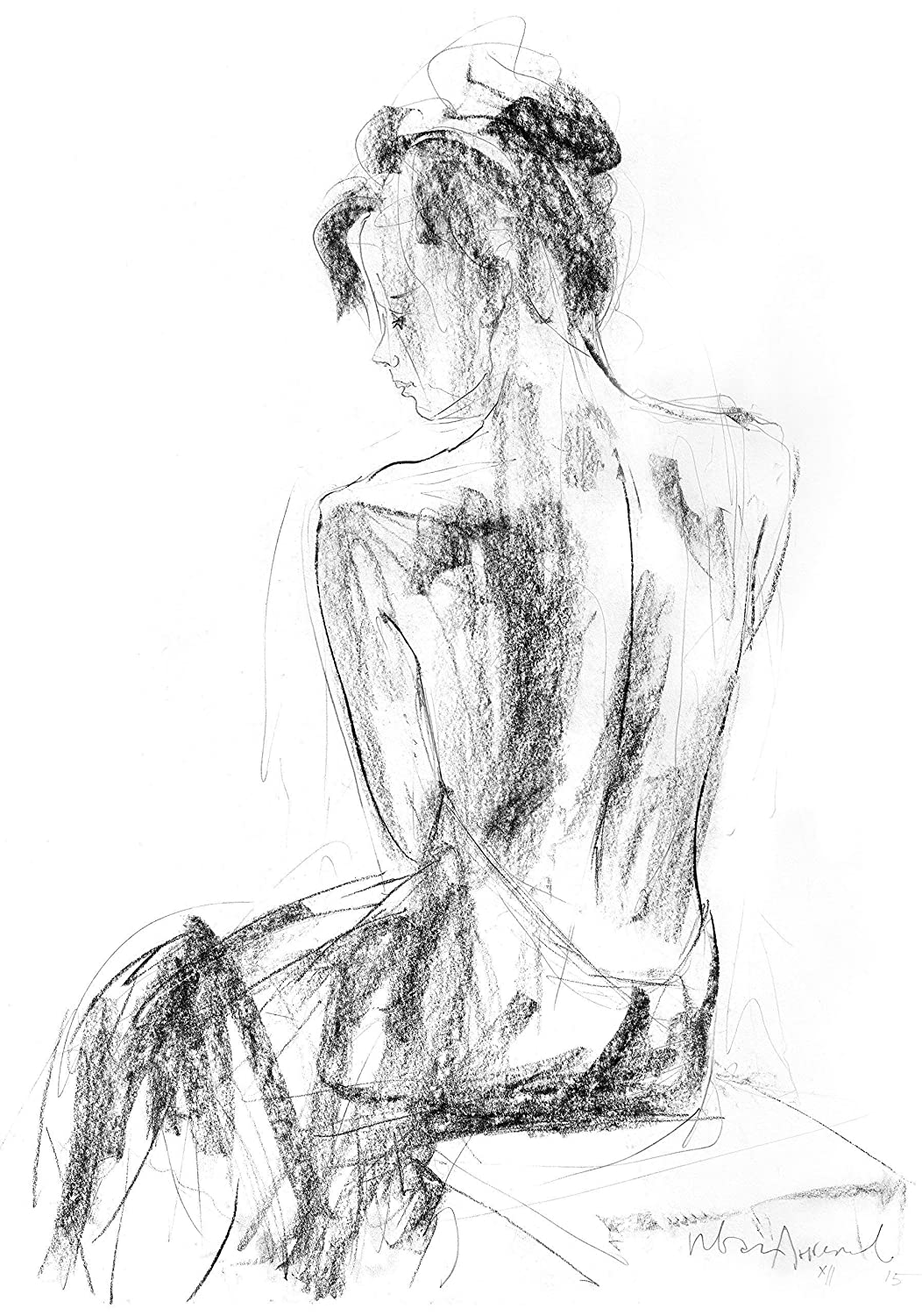 Woman Drawing Print, Charcoal Sketch Wall Decor, Female Figure Fine Art Reproduction