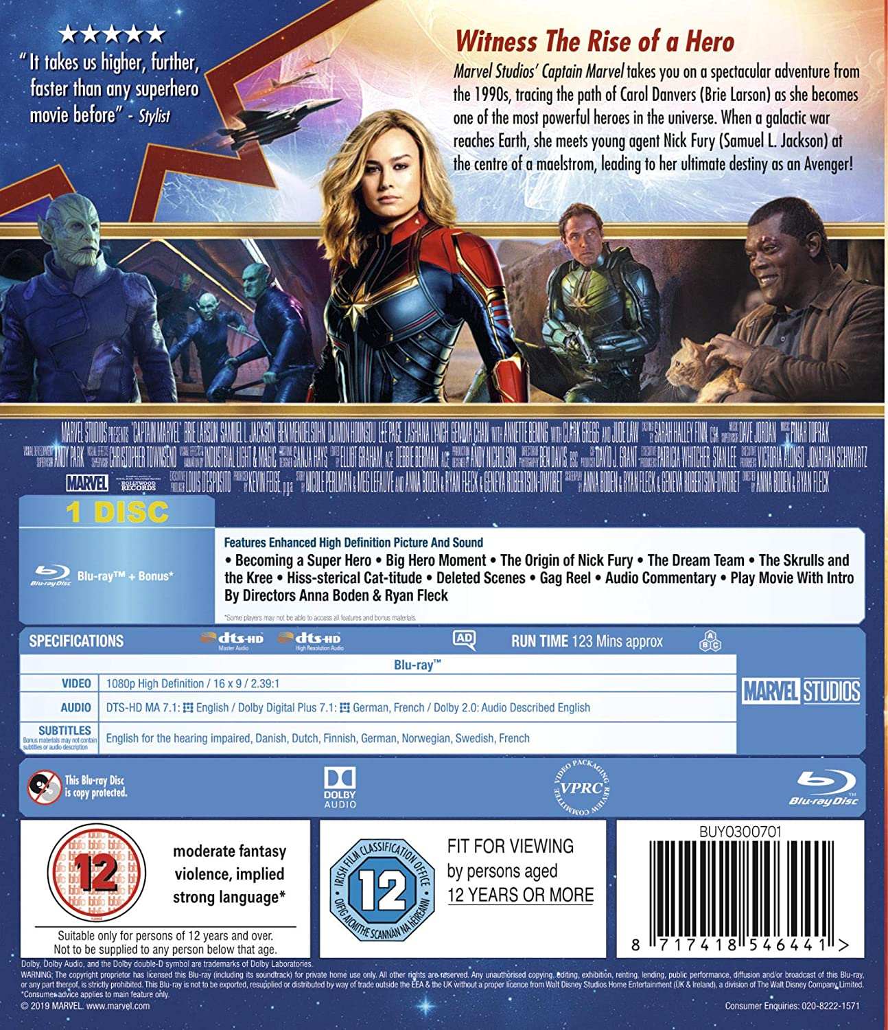 Captain Marvel [Blu-ray] [2019] [Region A & B & C]: Amazon co uk