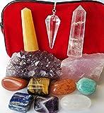 12 piece Chakra Stones Healing/Balancing Kit includes Ebook, Chakra Crystals, Amethyst Cluster, Quartz Pendulum, Raw Rose Quartz, Golden Quartz and Crystal Obelisks. Use for Reiki, Meditation, Rituals