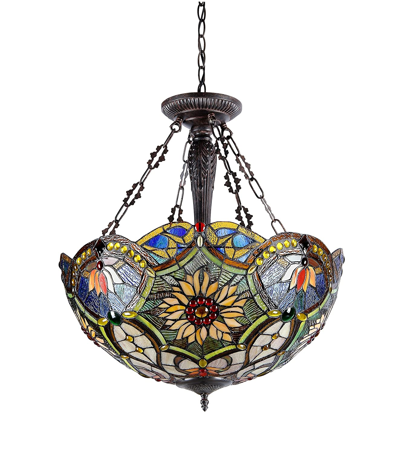 Chloe Lighting CH33270VB21-UH3 Tiffany-Style Victorian 3 Light Inverted Ceiling Pendant 21-Inch Shade Multi-Colored - - Amazon.com  sc 1 st  Amazon.com & Chloe Lighting CH33270VB21-UH3 Tiffany-Style Victorian 3 Light ...