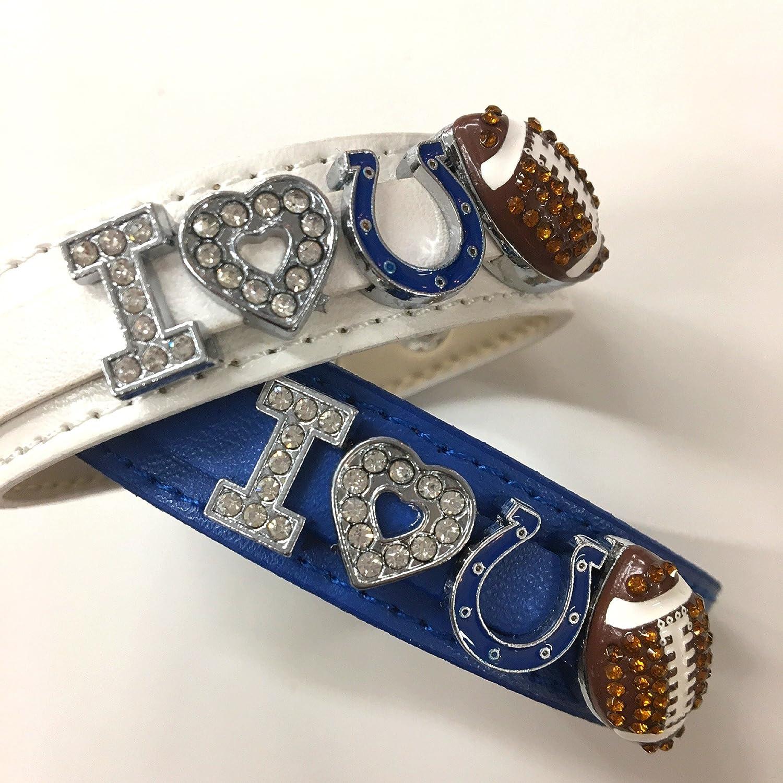 2 x I love Indianapolis Coltsラインストーンサッカーブレスレット/ NFLインディアナポリスコルツファン B01N2HFF0F