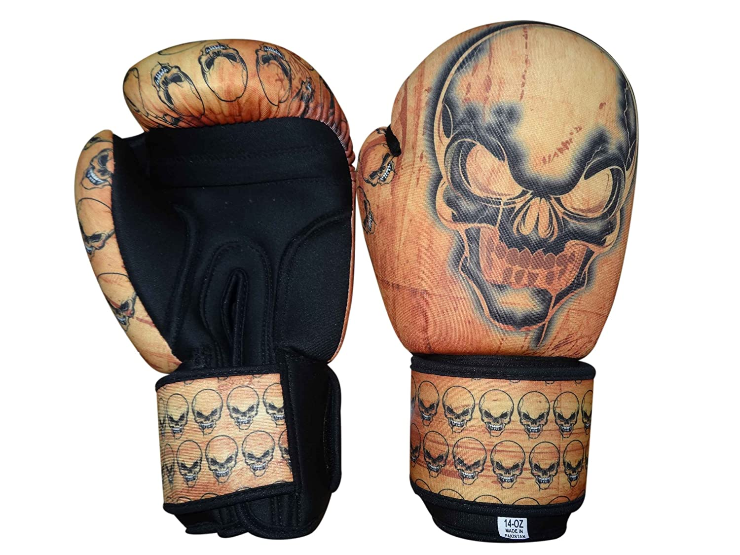 Woldorf USA Washable Boxing Bag Gloves withインプリントスカル12oz