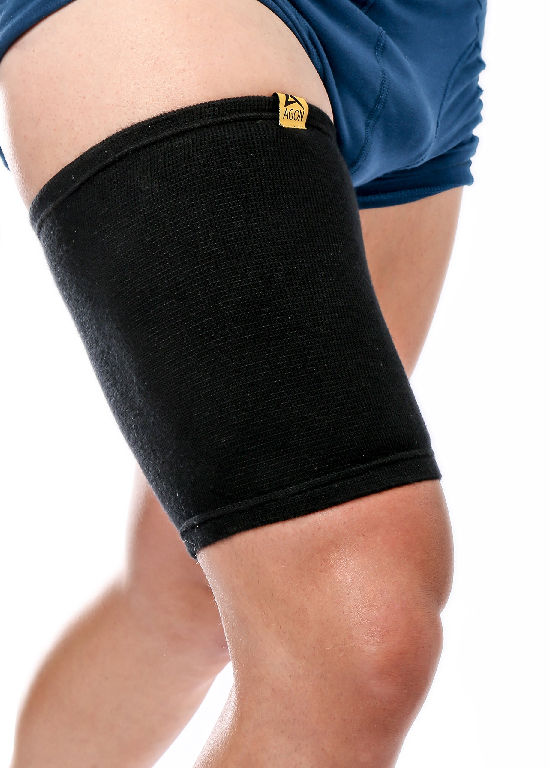 AGON Thigh Compression Sleeve Brace Support Compression Recovery Thighs Wrap Pain Relief for Sore Hamstring Groin Quad Sweat Men & Women Hip Injury Thigh Compressions Trimmer Active Sports (Small) by AGON