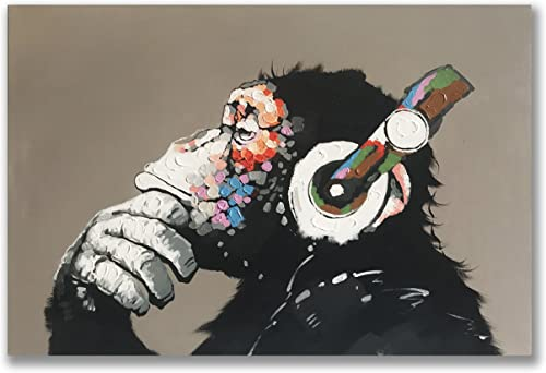 Gorilla Monkey Paintings 100 Hand Painted Cute Chimp Canvas Oil Painting Stretched and Framed Ready to Hang Living Room Bedroom Office Bathroom 36×24 inches