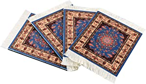 Set of 4 Rug Table Coasters – Oriental Design Fabric Carpet Drink Mats (Blue Patter)