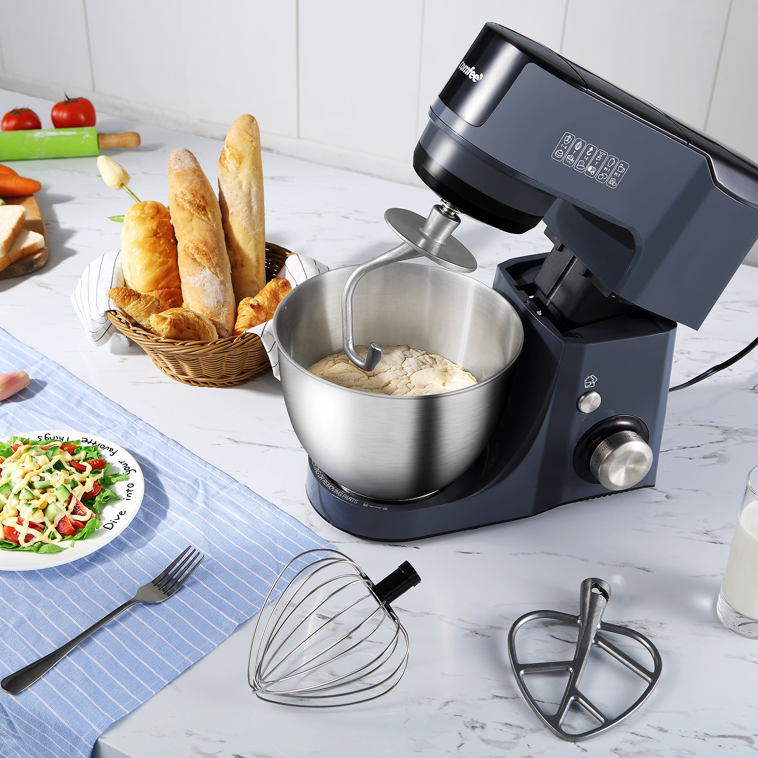 Comfee 4.75Qt 7-in-1 Multi Functions Tilt-Head ABS housing Stand Mixer with SUS Mixing Bowl. 4 Outlets with 7 Speeds & Pulse Control and 15 Minutes Timer Planetary Mixer ¡ by COMFEE' (Image #8)