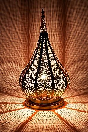 Lámpara de mesa oriental Kais Dorado 38cm de metal ...