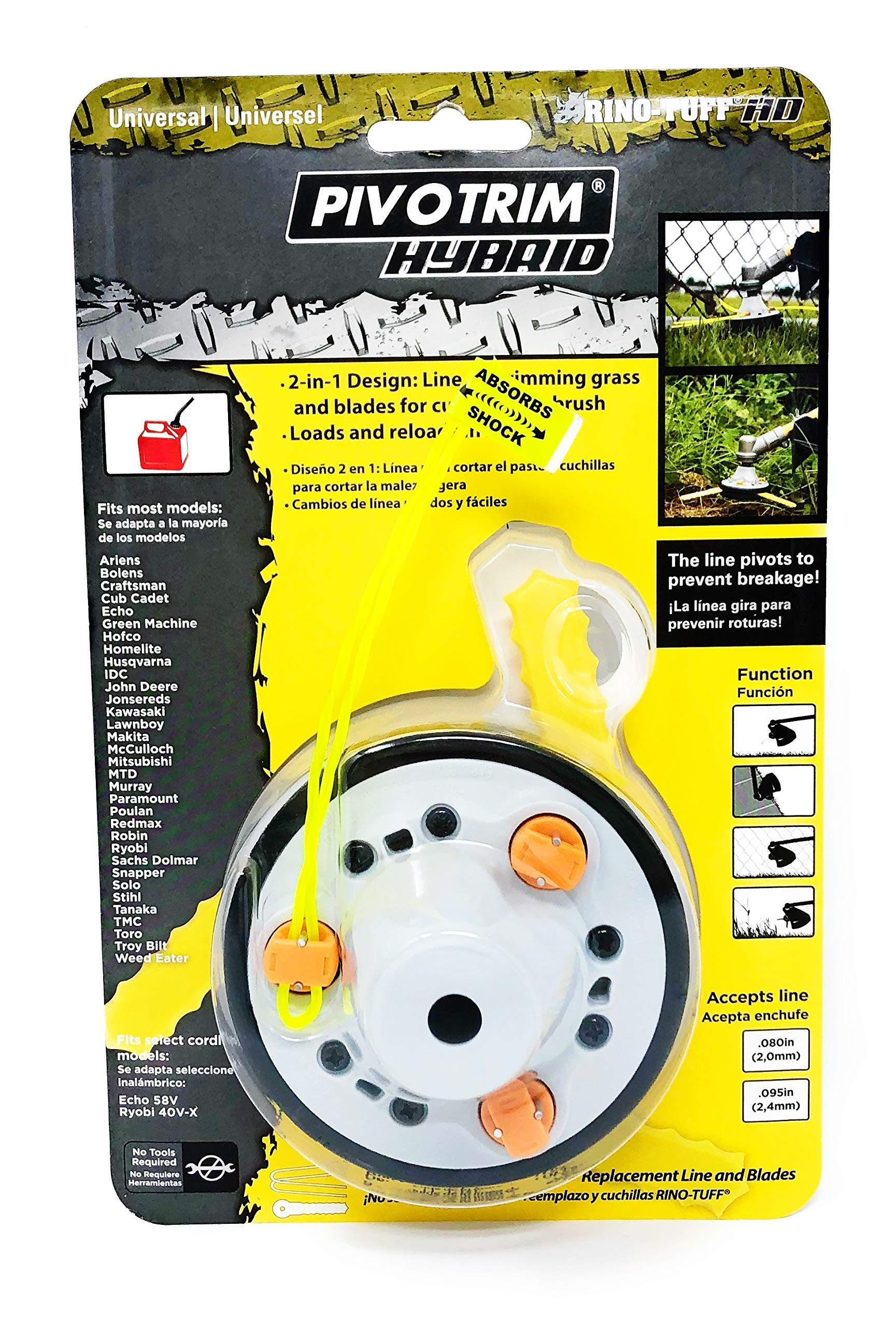 Pivotrim Rino Tuff Universal Hybrid String and Bladed Trimmer Head Replacement by Jarden Applied Materials