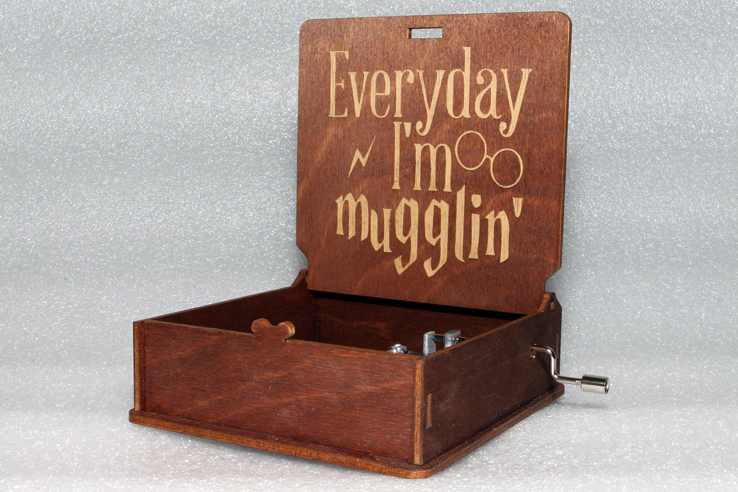 Harry Potter Music Box - Everyday I'm Mugglin' - Engraved Wooden Music Box -''Harry's Wondrous World'' - Hogwarts Deathly Hallows Wand Magic Hat - Hand Crank Movement