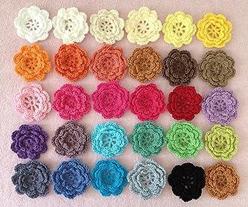Patchwork Appliqué Various colours Handmade Single Large Crochet Rose Flower